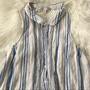 Xs blue white collar dress